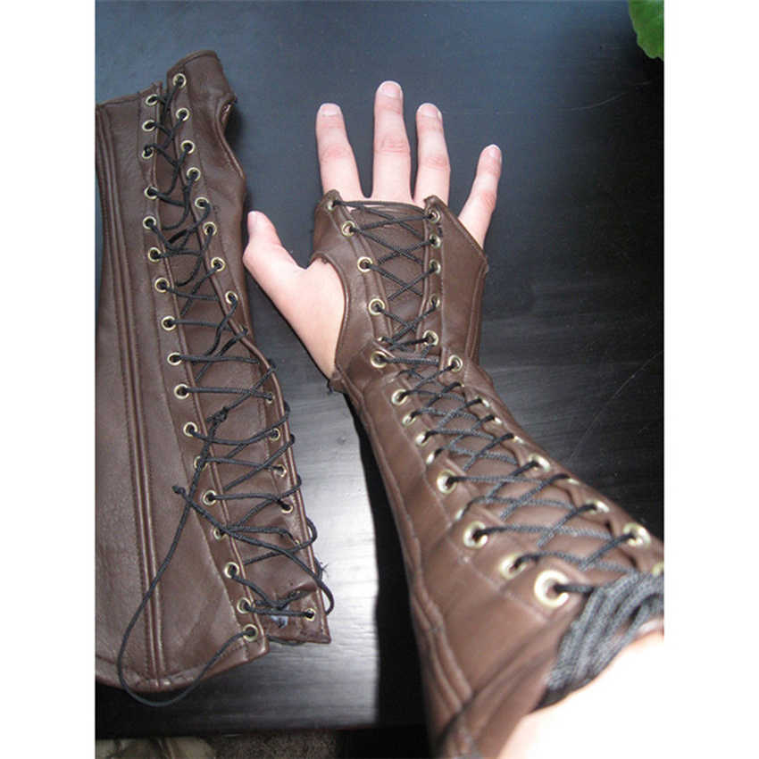 High Quality Medieval New Retro Leather PU Gloves 2019 Pneumatic Eye Tie Wrist Long Arm Sleeve Pure Half-finger Gloves