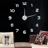 Classic Smart Fashion DIY Large 3D Number Mirror Wall Sticker Big Watch Home Decor Art Clock