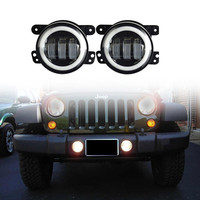 4inch 30W Round White led fog lights with Halo Ring Driving light for Wrangler 97-15 JK TJ LJ Tractor Boat fog lamps
