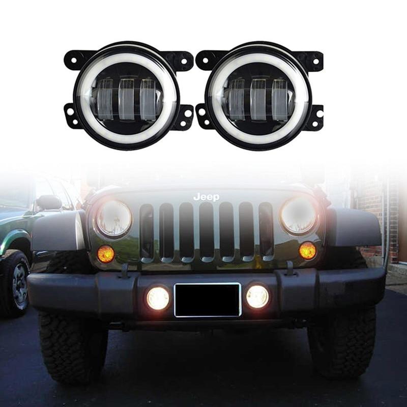 4inch 30W Round White led fog lights with Halo Ring Driving light for Wrangler 97-15 JK TJ LJ Tractor Boat fog lamps цена