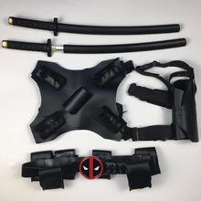 Deadpool Belt Sword Back Gun Holder Cosplay Superhero Deadpool Sword vapen Justerbara bälten Kostym Halloween Props Tillbehör