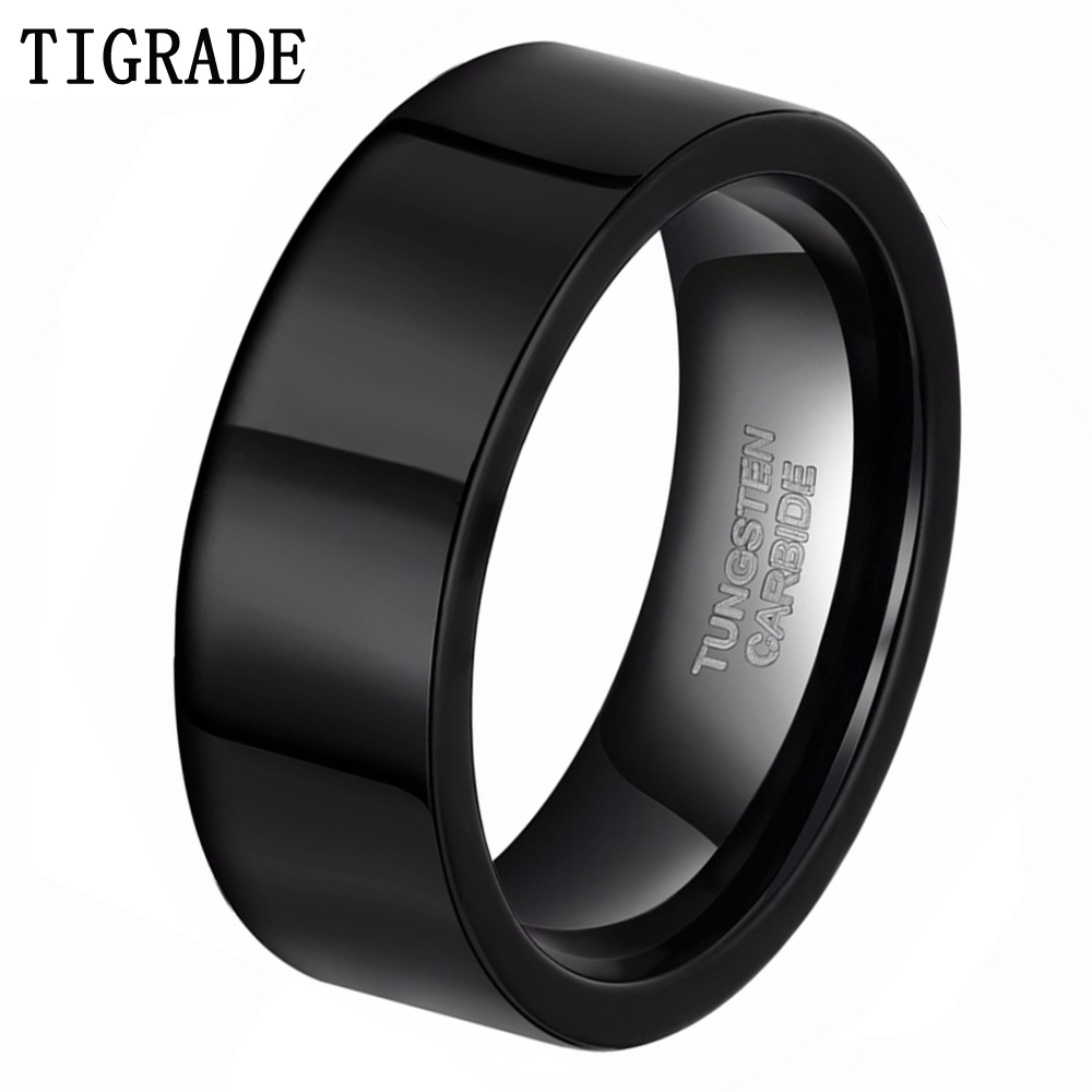 Tigrade Rings for Men 8MM Tungsten Trendy Pure Black High Polish Pipe Flat Cut Rings Hitam Murni Pernikahan Setiap Hari Lelaki bague homme