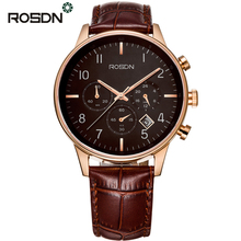 ROSDN Top Brand Luxury Sapphire Mirror 6 hand Chrono Watches Men Fashion Rose Gold Coffee Casual Sport Watch Waterproof relogios