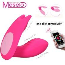 Meselo App Control Wearable Vibrator Remote 7 Speeds Dual G spot Vibrator Dildo Masturbator Sex Toys