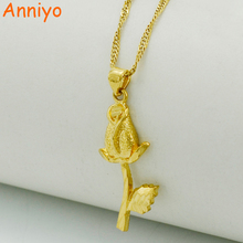 Anniyo Flower Necklaces for Women,Gold Color & Copper,Rose Pendant Jewelry Necklaces for Womens #022806