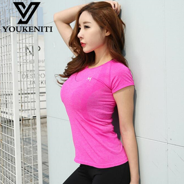 Women Gym Fitness Yoga Shirts 2017 Spring New Arrival Compression Shirts Short Sleeve Women's Sport Tees Tops Camiseta Yoga