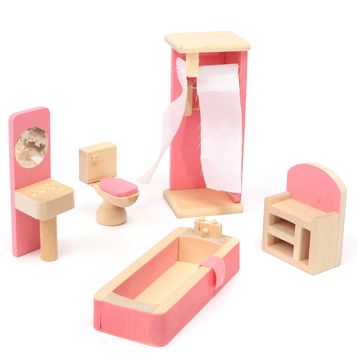 miniature wooden dollhouse furniture. Wooden Delicate Dollhouse Furniture Toys Miniature For Kids Children Pretend Play 6 Room Set/4 Dolls Toys-in From \u0026 Hobbies On