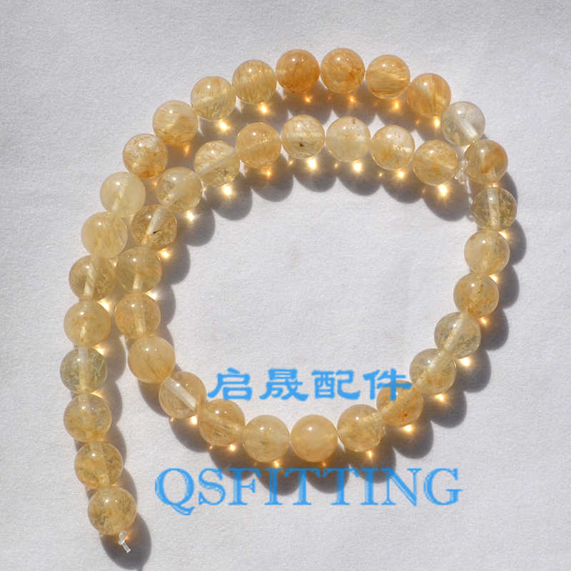 DIY fashion jewelry Accessory,10MM Nature Stone,Round Shape,Rutilated Quartz,Nature Crystal,Gold Color