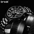 Break Creative Unique Design Luminous Stainless Steel Mens Watches Top Brand Luxury Military Sports Quartz Casual Watch Man Gift
