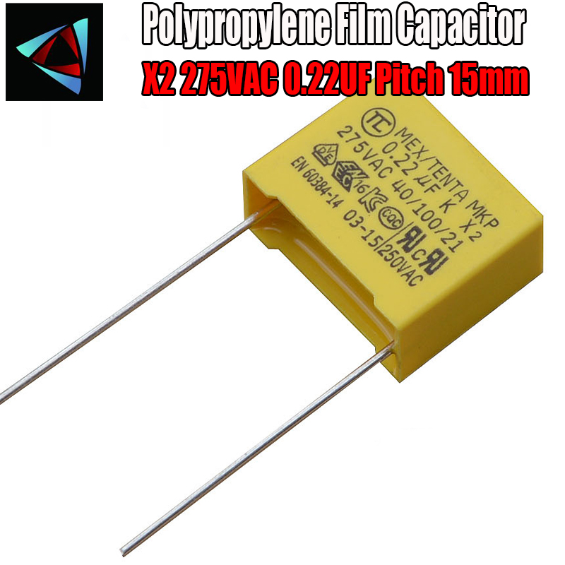 6 Pcs 0.22uF Capacitor X2 Capacitor 275VAC Pitch 15mm X2 Polypropylene Film Capacitor 224K