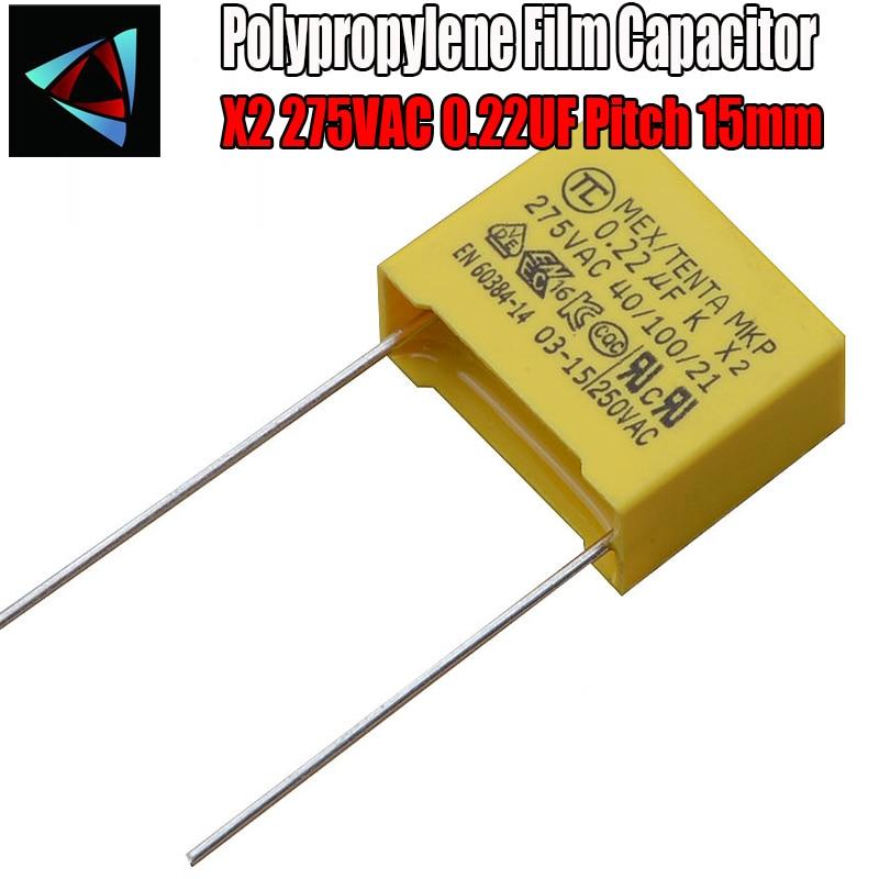 6 Pcs 0.22uF Capacitor X2 Capacitor 275VAC Pitch 15mm X2 Polypropylene Film Capacitor 224K