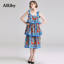 ARibyWomen Printed Cake Dress Summer Party Square Collar Dress 2019 New Sweet Blue Sling Sleeveless Multi-level A-Line Dress sweet square neck sleeveless circle printed dress for women