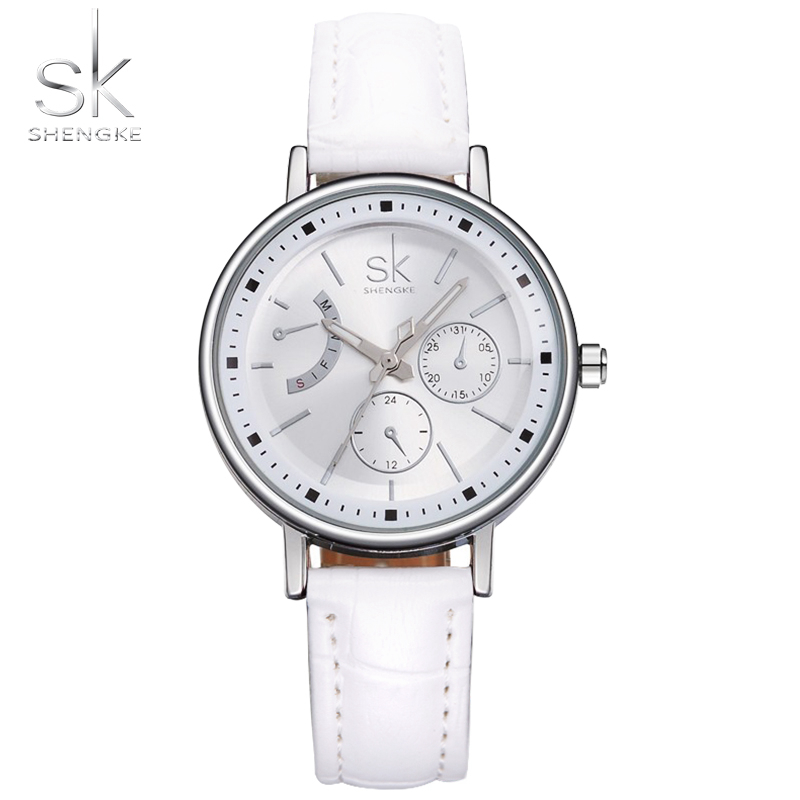 SK Brand Fashion Women Leather Wrist Watches Ladies Casual Analog Silver Case Quartz Watch Relogio Feminino