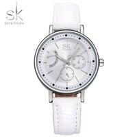 SK Brand Fashion Women Leather Wrist Watches Ladies Casual Analog Silver Case Quartz Watch Relogio Feminino