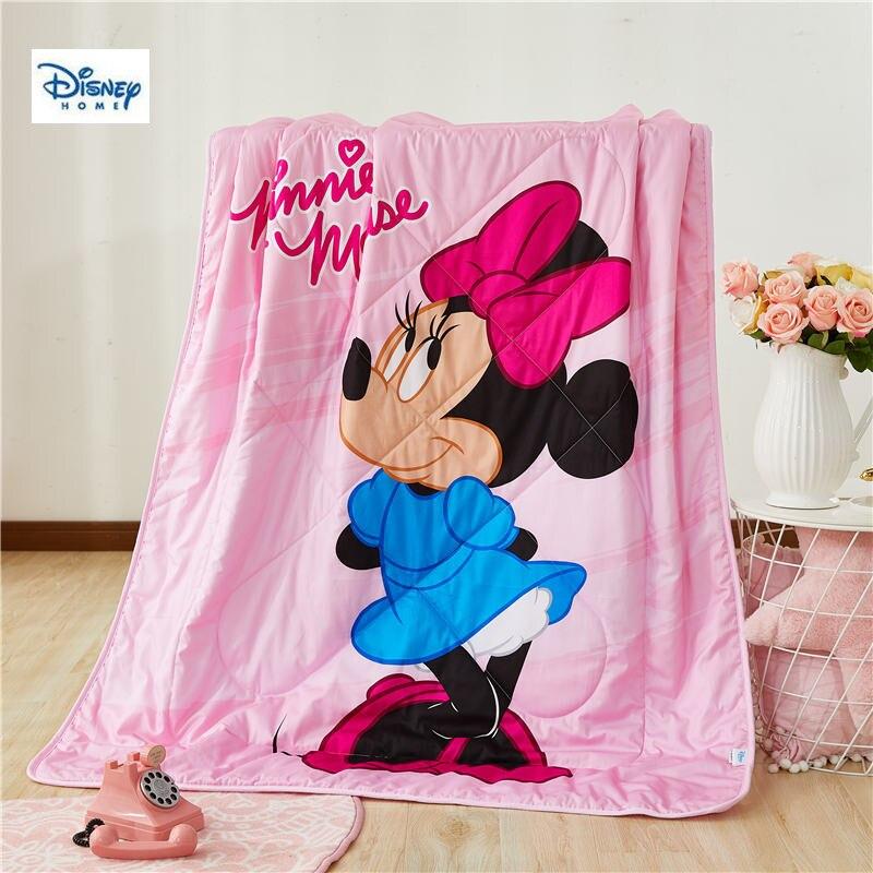 Disney minnie mouse été mince couette couette 3d dessin animé couette coton couverture enfants chambre décor lit couverture garçon fille cadeau