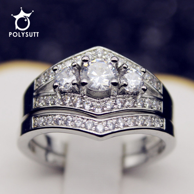 polysutt fashion holding the created luxury aaa cz wedding ring sets silver color crystal irish claddagh - Cz Wedding Ring Sets