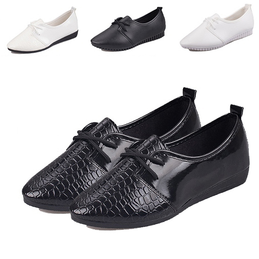d5a95813cfa6 New 2015 Ladies Shoes Trendy Pointed Toe Casual Ladies Flat Shoes Women  Flats Lace Up Solid Oxford Shoes For Women Sneakers