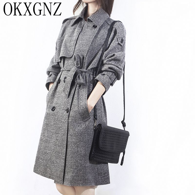 OKXGNZ Women Windbreaker Coat Spring/Autumn Grid Double-breasted   Trench   Coat Lapel Belt Slim Plus Size Han Edition Costume AH065