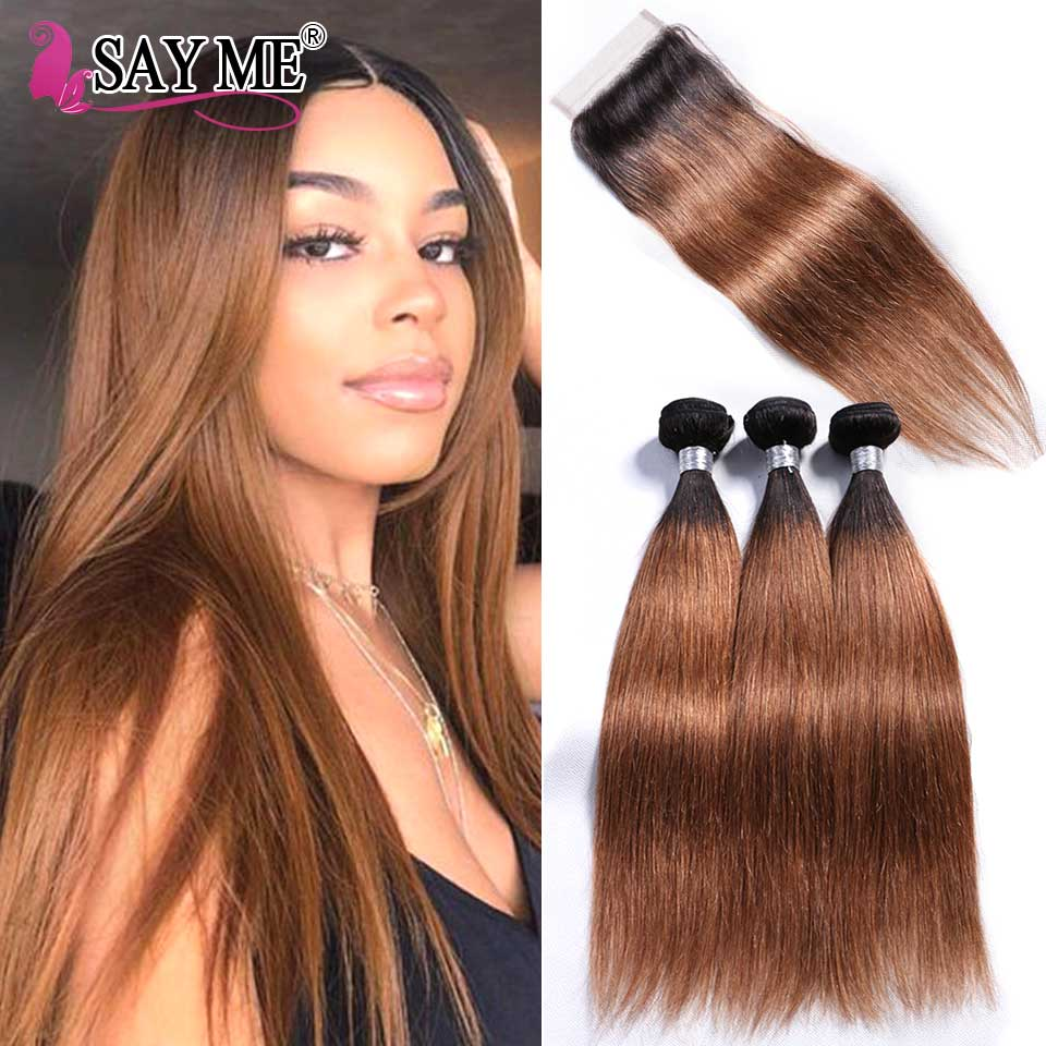 SAY ME 3 Tone Ombre Straight Human Hair Bundles With Closure 1B 4 27 30 Peruvian