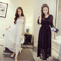 Women Clothes New Black White Lace Maternity Dress Photography Props Long lace dress pregnant women Elegant Photo Shoot