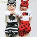 3 UNIDS/0-18Months/Primavera Otoño Bebé Recién Nacido Niños Niñas Ropa de la Historieta Del Mono Lindo Del Mameluco + Pants + Hats Ropa infantil Establece BC1006