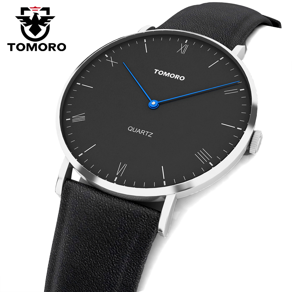 TOMORO Super Slim Quartz Casual Wristwatch Business JAPAN Genuine Leather Analog Quartz Watch Men's Fashion 2017 Relojes Hombre