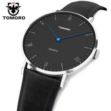 Tomoro súper delgada japón cuarzo reloj casual de negocios de cuero genuino de cuarzo analógico reloj de los hombres de moda 2017 relojes hombre