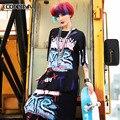 2017 Новый Женщины Clothing Цветочные Хип-Хоп Футболка Женская Мода Уличная Танец Рок Свободные Рубашки Горячей Продажи Свободный Размер