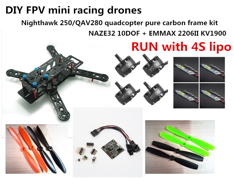 DIY mini FPV racing drones Nightawk 250/QAV280 quadcopter pure carbon frame kit NAZE32 10DOF + EMAX MT2206II KV1900 RUN with 4S diy mini drone qav210 zmr210 fpv race quadcopter pure carbon frame kit cc3d emax 2204ii kv2300 motor bl12a esc run with 4s