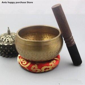 Nepal handmade Buddha Tibet bowl bowl ritual music therapy copper chime copper Tibetan Singing Bowl(China)