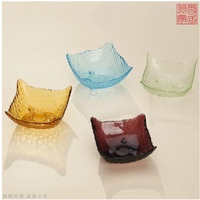 Special Manual Colored Glass Plate Of Fruit Snacks Plate Glass Disc Dry Fruit Tray Snack Plate