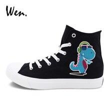 Wen Men Women Sneakers High Top Athletic Flat Original Design Cartoon Dinosaur Earphone Listen to Music Canvas Shoes