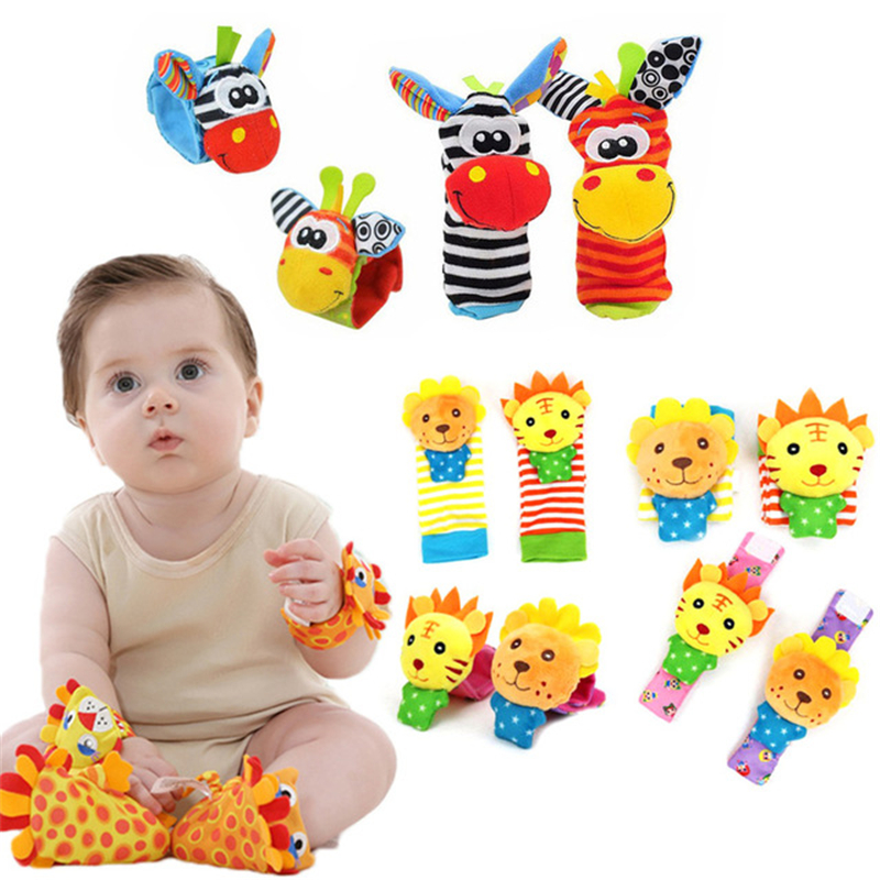 Soft Animal Socks Baby Wrist Rattle Bell Bands Sound Hand Foot Rattle Bell Pet Cute Plush Sock Baby Newborn Intellectual Toys