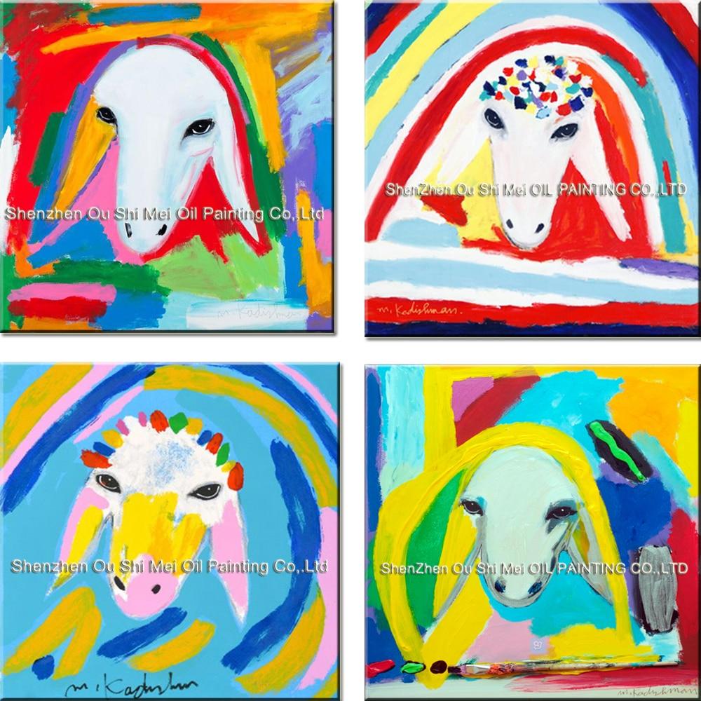 Իմիտացիոն նկարներ Menashe Kadishman ձեռքի աշխատանք Ներկարար նկարչություն սենյակի դեկորի համար Ձեռքով նկարել Գույնը ոչխարներ Գլխի կենդանիներ Կտավ նկարչություն