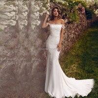 Vestido De Noiva Off The Shoulder Mermaid Wedding Dress Satin Flower Zipper Strapless Wedding Gowns Custom Size