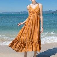 2017 Summer Women Chiffon Dress Retro Geometric Print Mid-calf Dresses Sexy Spaghetti Strap V Neck Elastic Waist Beach Vestidos
