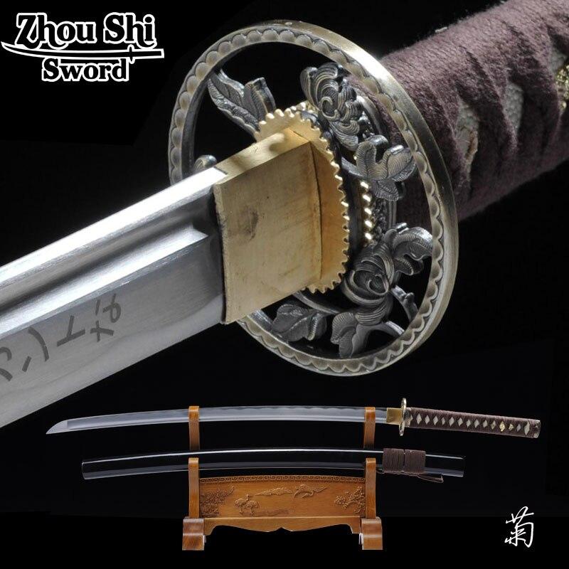Épée de chrysanthème à la main japonaise samouraï Katana épée E accessoires épée de samouraï forgée à la main forte