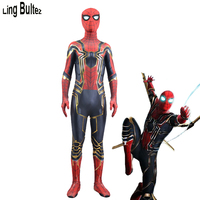 Ling Bultez High Quality Newest Infinity War Iron Spider Costume With Gold Details Movie Iron Spider Fullbody Zentai Suit