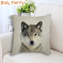 Animal Decorative Cushion Cover Elephant Wolf Leopard Deer Monkey Bison Printed Pillowcase Sofa Decoration Pillow Case
