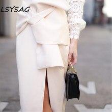 1884b6cbdcff LSYSAG mujer ropa Hollow Out Lace camiseta blusa blanca arco falda señoras  Slit 2018 otoño traje Retro moda Retro 2 unidades set