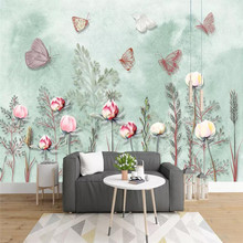 Nordic small fresh hand-painted watercolor plants background wall 3D wallpaper custom mural photo