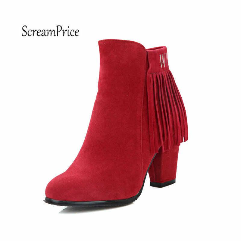 Artı Boyutu 43 Kadın Akın Tıknaz Yüksek Topuk yarım çizmeler Moda Fringe Yan Fermuar Kış Kadın Ayakkabı