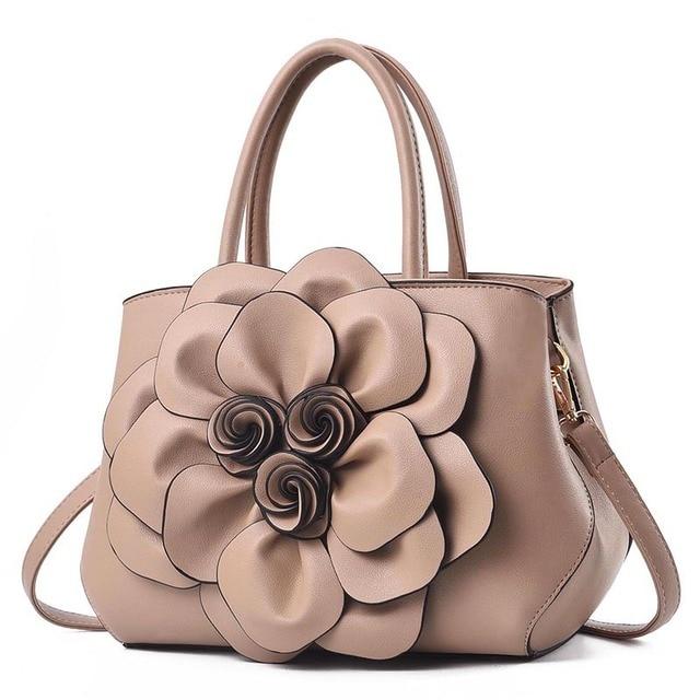 New PU Leather Handbags Women Shoulder Bags 3D Flower Design Women Crossbody Bags Ladies Handbag Female Totes Purse 2019