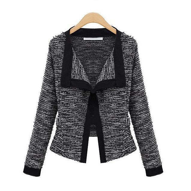 Women Cardigan Coat Loose Long-Sleeve Knit  Female Fashion Sweater Winter Cardigans Coat Striped Black Beige