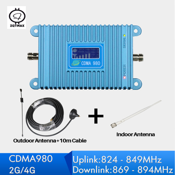 2G 850 MHz Repetidor Sinal Celular LCD Display cdma Mobile Phone Signal Repeater Mini Size 4G  Booster with antenna set