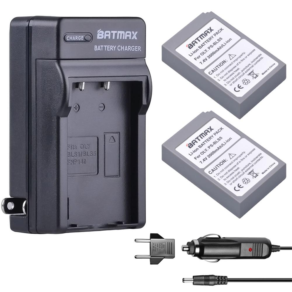 2000 mAh 2 PZ BLS-BLS5 Bls50 Batteria + Caricatore Della Parete + Kit per Olympus OM-D e-M10, PEN e-PL2, e-PL5,-PL6, E-PM2, Stylus 1