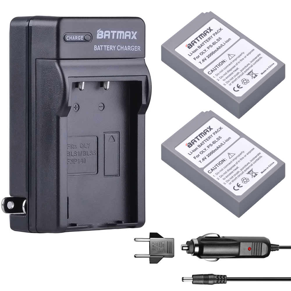 2000mAh 2 PCS BLS-5 BLS5 Bls50 Battery+Wall Charger Kits + for Olympus OM-D E-M10, PEN E-PL2, E-PL5, E-PL6, E-PM2, Stylus 1