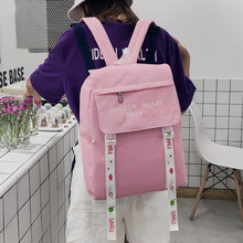 f42830a0aeef6 Mignon Lettre Imprimé Toile Sac À Dos Femmes Chic Ruban Solide Couleur Cartables  Adolescent Fille Coréenne