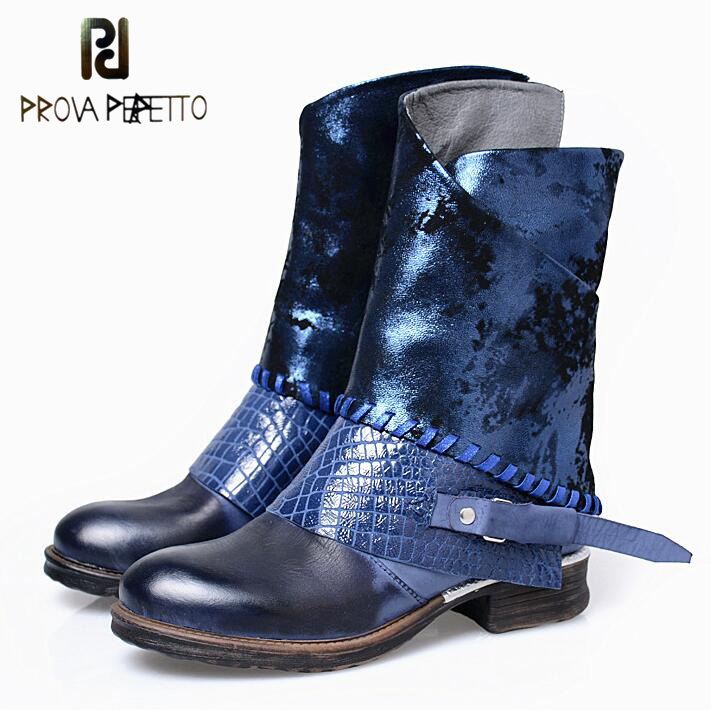 Prova Perfetto Fashion Band Mixed Color Genuine Leather Martin Boots Women Round Toe Low Thick Heel Chelsea Short Boots Shoes prova perfetto winter women warm snow boots buckle straps genuine leather round toe low heel fur boots mid calf botas mujer
