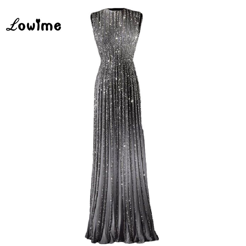 2017 Golden Evening Dress Long with Crystal Prom Dresses Floor Length Evening Gown vestido de festa Custom Made Free Shipping